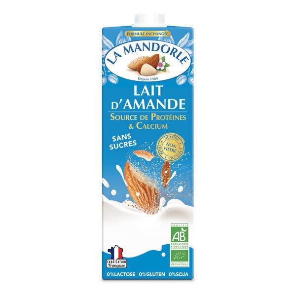La Mandorle - Lot de 2 Laits d'amande sans sucres Protéines et calcium 2x1L