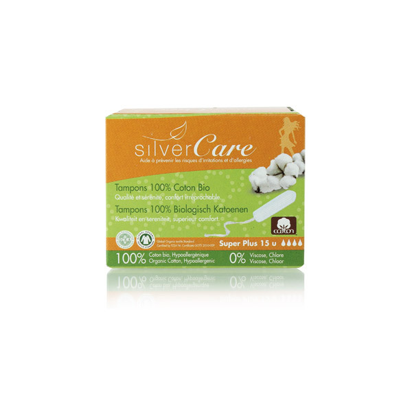 SilverCare - 18 Tampons coton bio - Super Plus Sans applicateur