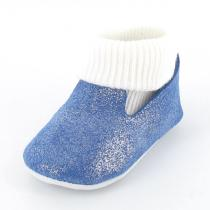 Mon Petit Chausson - Babyschuhe aus Leder mit integrierten Socken - Blau Metallic