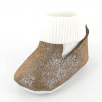 Mon Petit Chausson - Babyschuhe aus Leder mit integrierten Socken - Braun Metallic