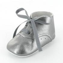 Mon Petit Chausson - Babyschuhe Richelieu Leder Grau Metallic