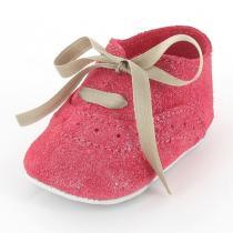 Mon Petit Chausson - Babyschuhe Richelieu aus Leder mit Glitzer - Rot