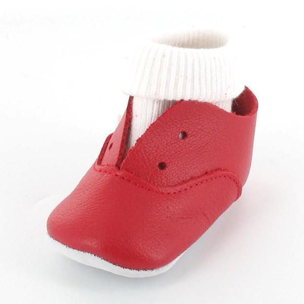 Mon Petit Chausson - Babyschuhe aus Leder mit integrierten Socken - Rot
