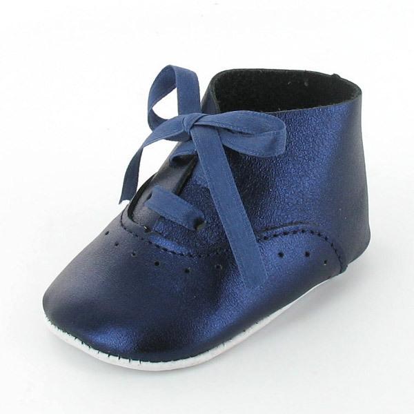 Mon Petit Chausson - Babyschuhe Richelieu Leder Blau Metallic