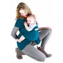 Je porte mon bébé - Baby-Tragetuch Basic - Retro Blau