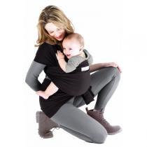Je porte mon bébé - Baby-Tragetuch Basic - Grau-Schwarz