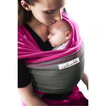 Je porte mon bébé - Baby-Tragetuch Original - Magentafarben mit grauer Tasche
