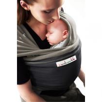Je porte mon bébé - Baby-Tragetuch Original - Olivgrün mit anthrazitfarbener Tasche