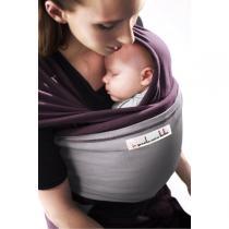 Je porte mon bébé - Baby-Tragetuch Original - Pflaumenfarben mit hellgrauer Tasche