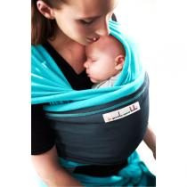 Je porte mon bébé - Baby-Tragetuch Original - Türkis mit blauer Tasche