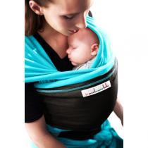 Je porte mon bébé - Baby-Tragetuch Original - Türkis mit dunkelbrauner Tasche
