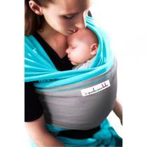 Je porte mon bébé - Baby-Tragetuch Original - Türkis mit hellgrauer Tasche