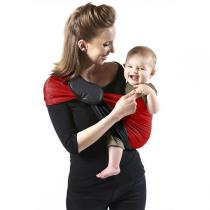Je porte mon bébé - Baby-Tragetuch ohne Knoten - reversibel - grau-rot