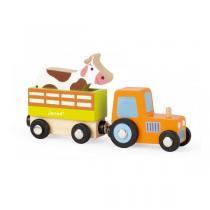 Janod - Story set ferme tracteur + remorque + vache