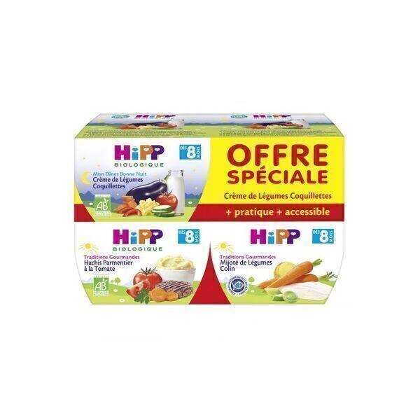 HiPP - Lot de 4 menus 8 mois 190gr