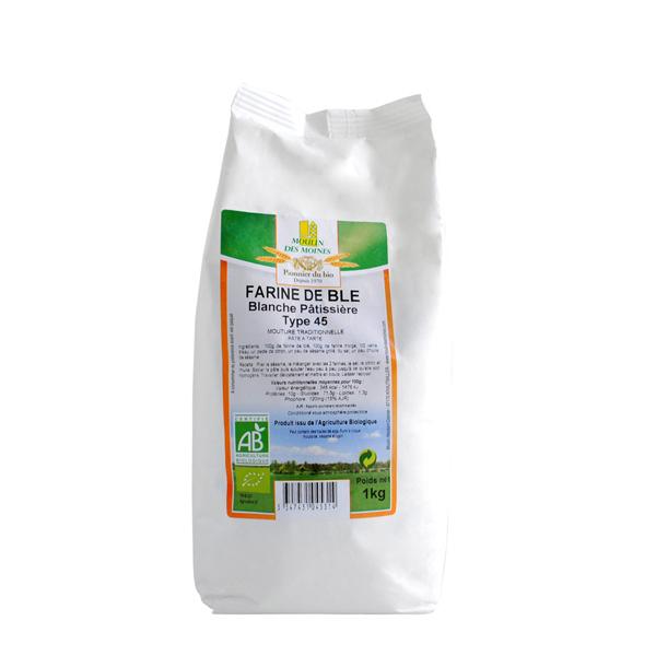 Moulin des Moines - Farine de blé bio blanche T45 - 1 kg