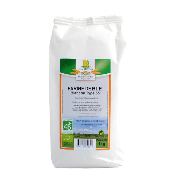 Moulin des Moines - Farine de blé bio blanche T55 1kg