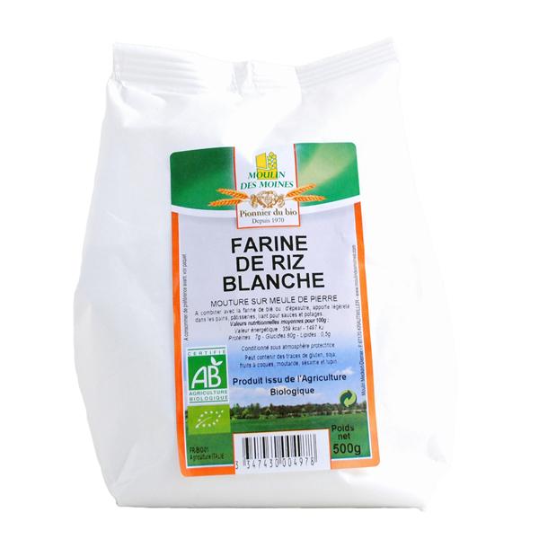 Moulin des Moines - Farine de riz blanche bio - 500g