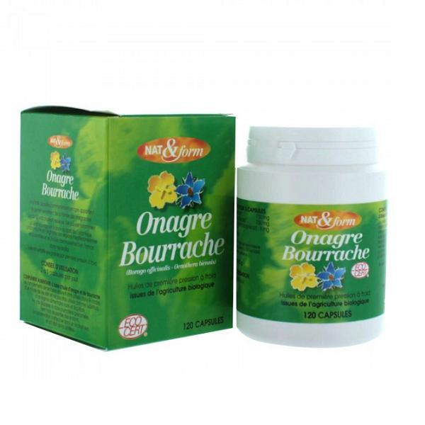 Nat & Form - Bourrache onagre bio + vitamine E 120 capsules