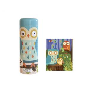Petit Collage - 64 Piece Tin Canister Puzzle - Owl Family