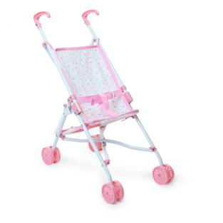 Petitcollin - 800153 Pink Floral Pushchair for Dolls
