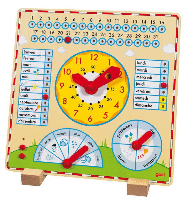 Goki - Horloge Calendrier en bois - Dès 5 ans