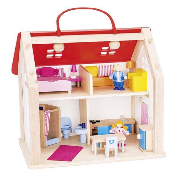 Goki - Valise maison de poupées avec accessoires  - Dès 2 ans