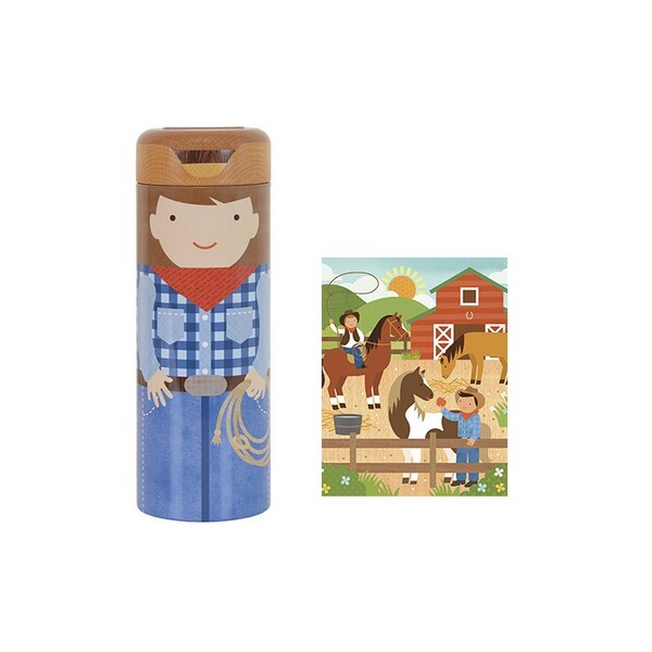 Petit Collage - 64 Piece Tin Canister Puzzle - At the Ranch