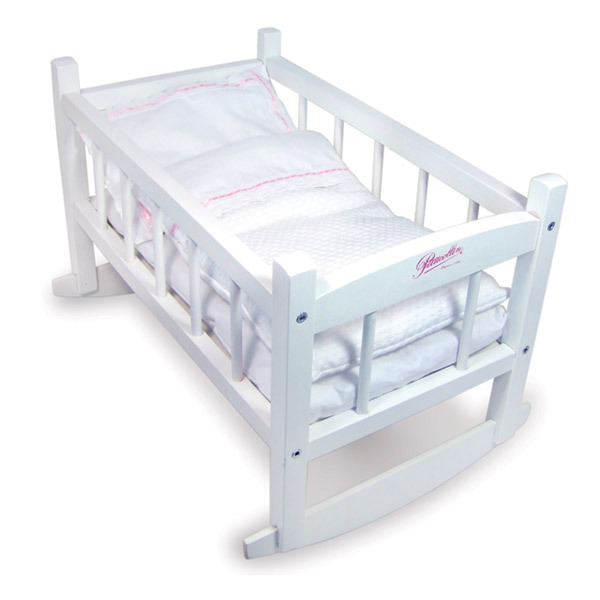 Petitcollin - 800188 Lacquered Rocking Cradle for 40 cm Dolls - White