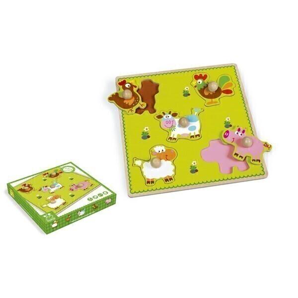 Scratch - Puzzle à boutons Ferme 5 pièces