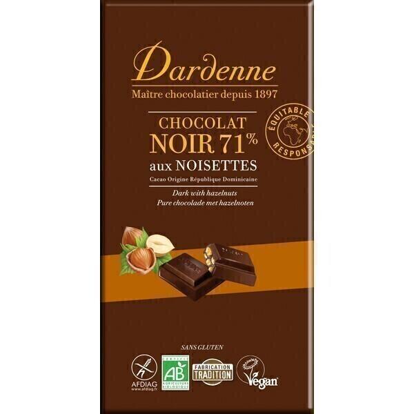 Dardenne - Tablette chocolat noir aux noisettes 180g