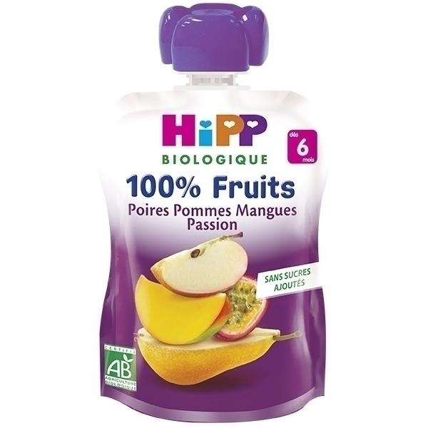 Hipp - Gourde Poires Pommes Mangues Passion 90g