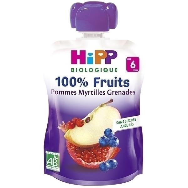 Hipp - Gourde Pommes Myrtilles Grenades 90g