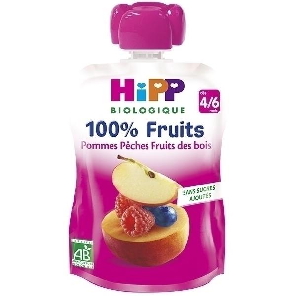 Hipp - Gourde Pommes Pêches Fruits des bois 90g