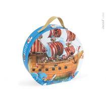 Janod - Puzzle bateau de pirates 39 pcs avec valisette ronde