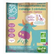 Natali - Céréales infantiles bio Mélange 3 céréales riz maïs tapioca 18g