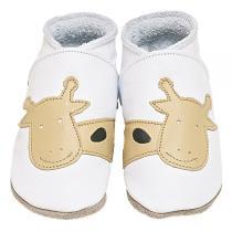 Starchild - Chaussons cuir Girafe Blanc-Caramel 0-24 mois