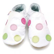 Starchild - Chaussons cuir fille Polka Blancs 0-24 mois