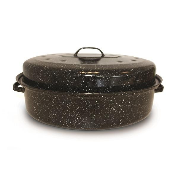 Grand gobelet avec couvercle à bord noir-le Bouleau pot émaillé 1 l