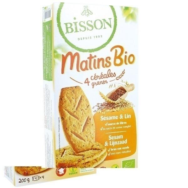 Bisson - Biscuit matins bio 4 céréales sésame & lin 200g