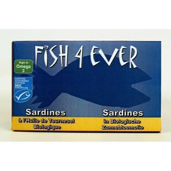 Fish4Ever - Sardines entières à l'huile de tournesol bio 120g