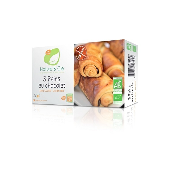 Nature & Cie - 3 Pains au chocolat Bio sans gluten - 180 g