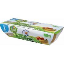 Grandeur Nature - Purée de fruits pommes bananes babyfood dès 8 mois 2x120g