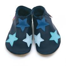 Starchild - Chaussons cuir Etoiles Bleu 0-24 mois