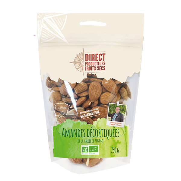 Direct producteurs Fruits secs - Amandes décortiquées de la vallée de Pinoso Bio - 250 g
