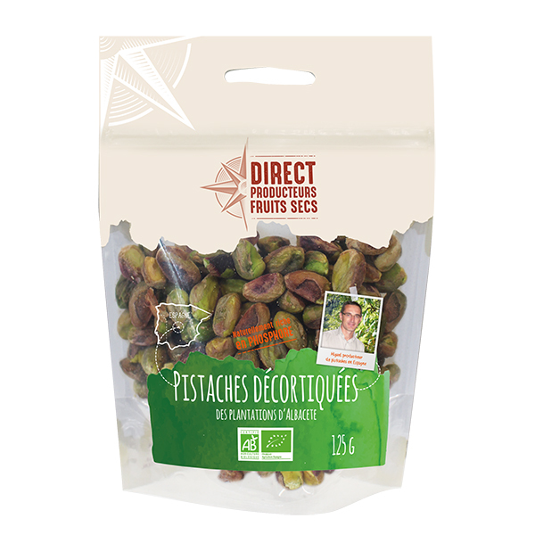 Direct producteurs Fruits secs - Pistaches décortiquées des plantations d'Albacete Bio - 125 g