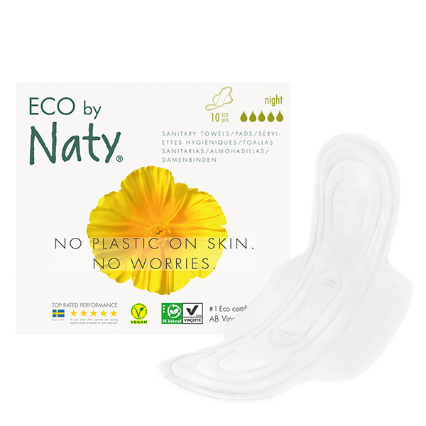 Eco by Naty - Pack 3 paquets de 10 Serviettes hygiéniques Extra Night Plus