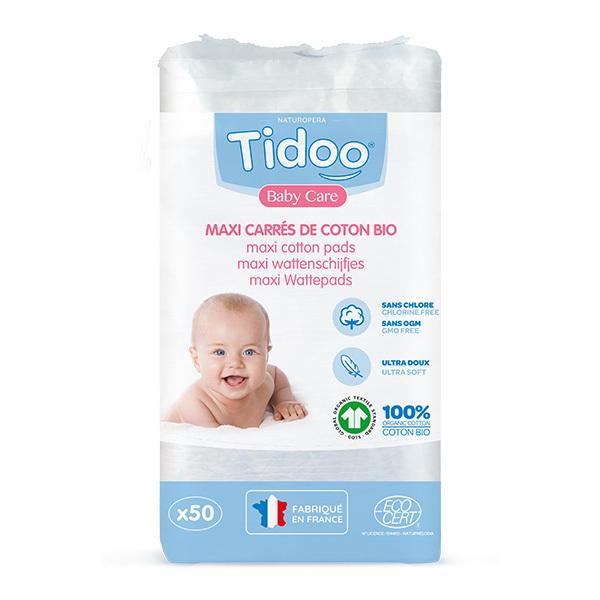 Tidoo - 3x50 Maxi Carrés Ultra Doux de Coton Bio