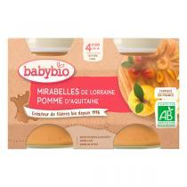 Babybio - Petits potsMirabelle Pomme 2 x 130g - Dès 4 mois