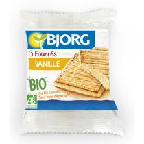 Bjorg - 3 biscuits fourrés vanille - 75g